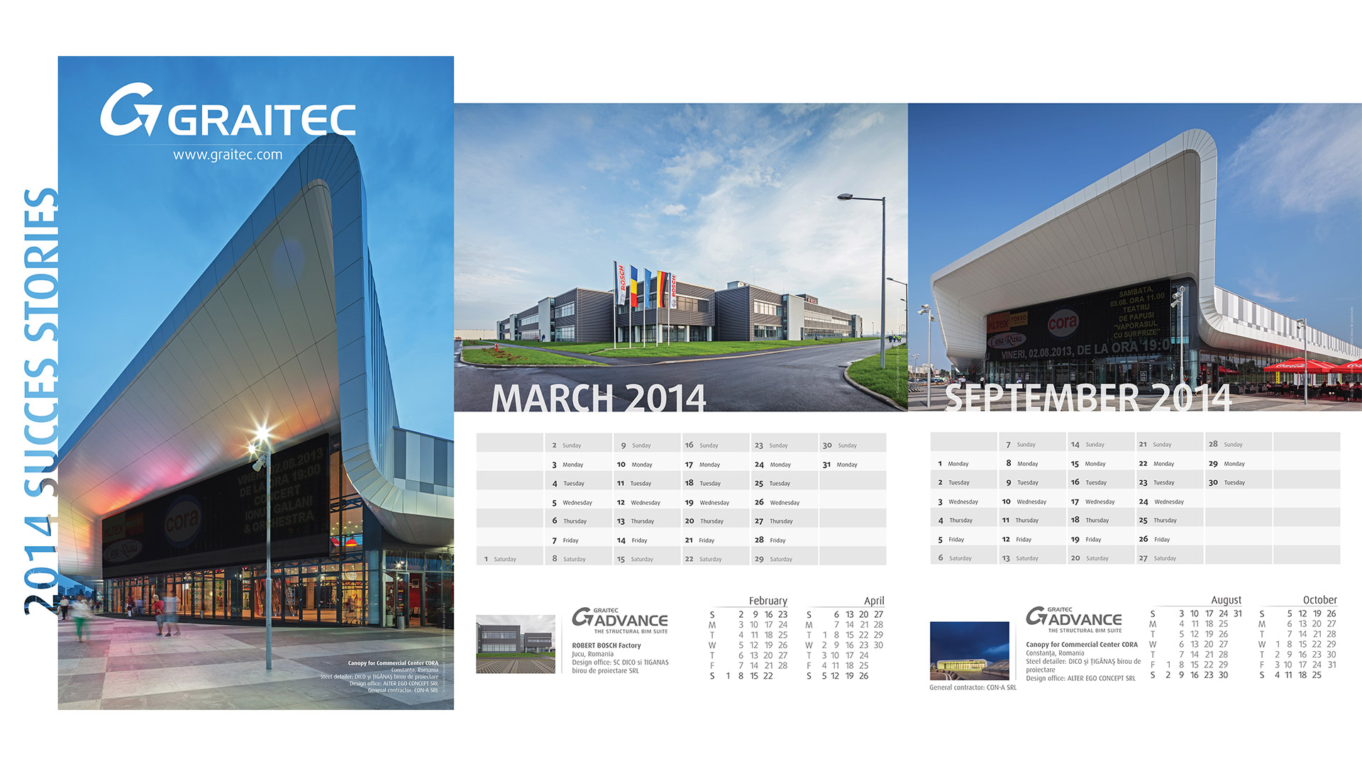 Calendarul Graitec, Centru Comercial Cora, Bosch, 2014