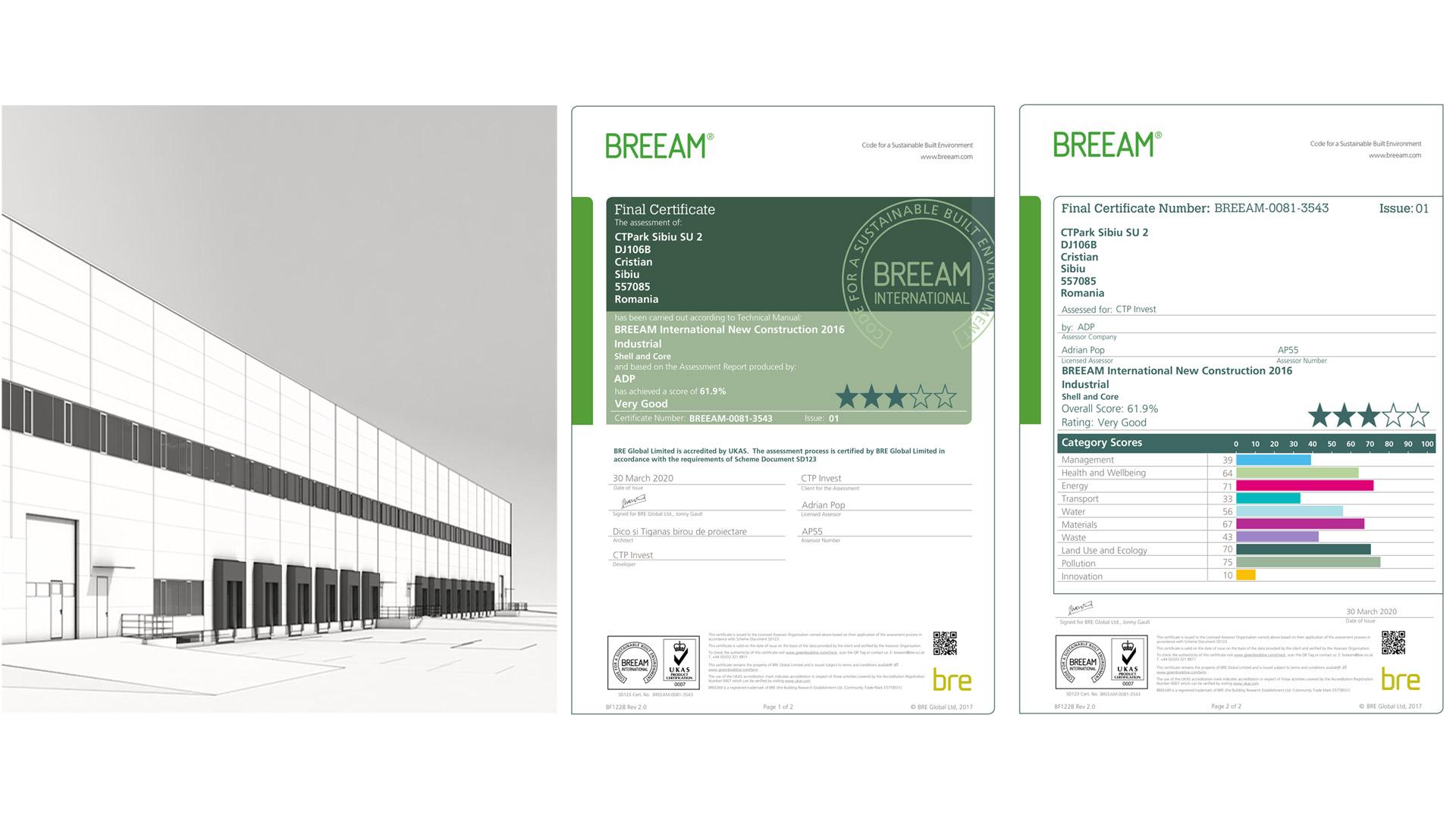 CTPark Sibiu, BREEAM Certificate, 2020